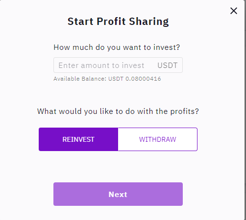 Allocating funds to a profit sharing service in zignaly