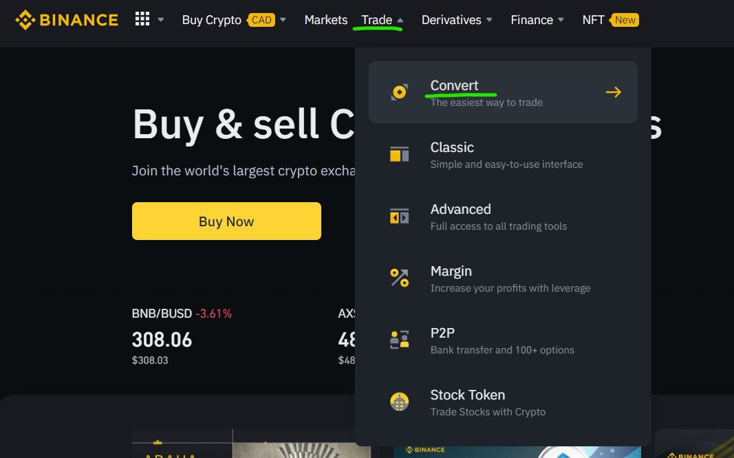 How to convert coins for USDT on Binance