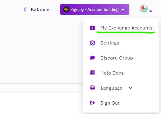 Select Exchange Account Zignaly