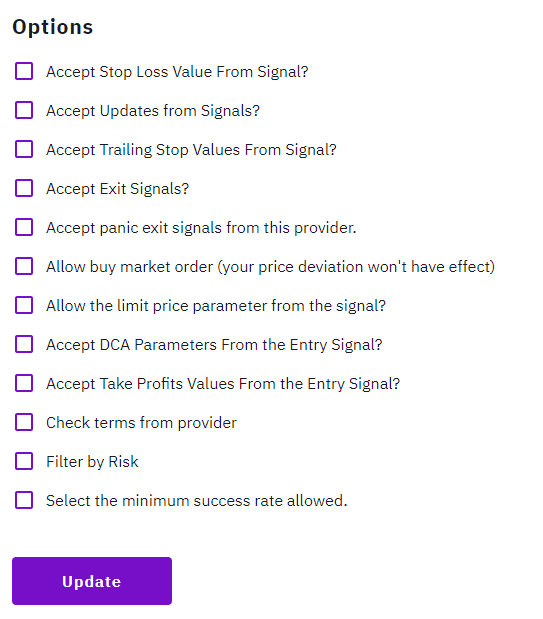 List of option for signals provider on Zignaly